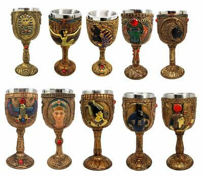 Ebros Set of 10 Ancient Egyptian Gods & Goddesses Wine Goblets Collectible