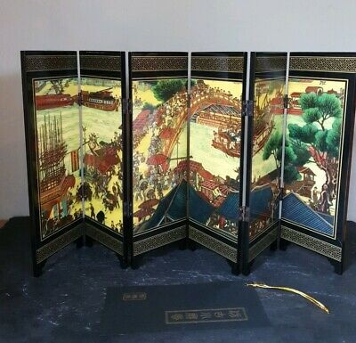 Miniature Lacquered Table Screen Qingming Festival Chinese