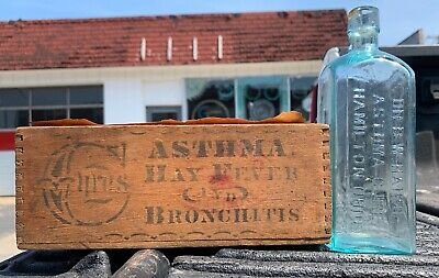 Dr B W Hair's Asthma Cure Bottle w Box 1880's Medicine Drug Store Apothecary