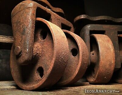Vtg INDUSTRIAL CASTERS, Steel Metal Factory Cart Coffee Table Iron Wheel Salvage