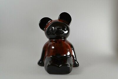 Blue Mountain Pottery Vintage Bear Bank RARE Red and Black Glaze Mid Century