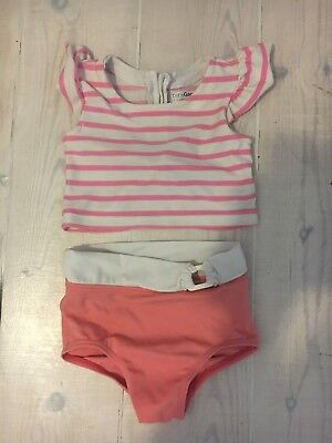BABY GAP GIRLS 2 PIECE SWIMMING COSTUME PINK WHITE STRIPED SIZE 12 - 18 months
