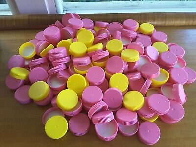 200  pink yellow kids milk caps lids crowns arts crafts day care games painting