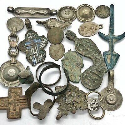 Medieval Byzantine & Post Middle Ages Artifacts Lot Cristian Cross Amulet Old K
