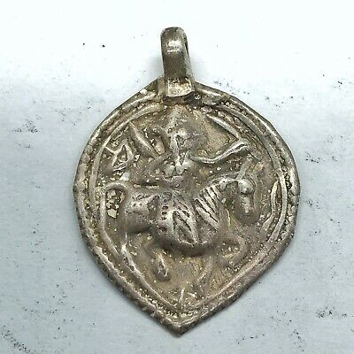 Late Or Post Medieval Aged Silvered Pedant W/ Man On Horse Artifact Old Charm