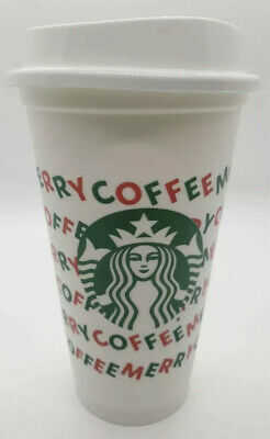 Starbucks Reusable Hot Cold White Cup 16oz Merry Coffee Set Of 5  Holiday 2019