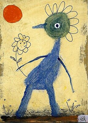 infatuation syndrome e9Art ACEO Outsider Folk Art Brut Painting Expressionism