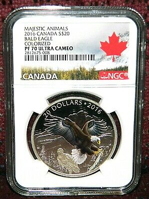 2016 Canada $20 Majestic Animals Baronial Bald Eagle W/Box Ngc Pf 70 Ultra Cameo