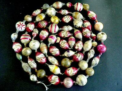 """Antique 96"""" Victorian Germany Big Red Pink Silver Twist Beads  Christmas Garland"""