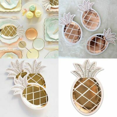 8Pcs/set Gold Fruit Pineapple Paper Plate Disposable Dish for Party Decoration
