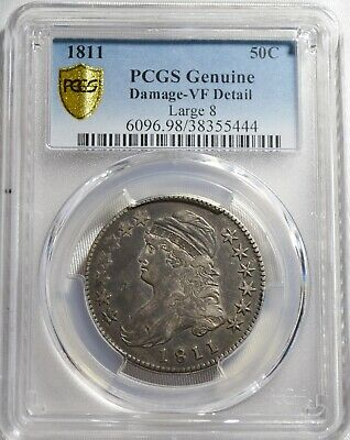 1811 Capped Bust Half Dollar- Large 8  PCGS VF35 Free Shipping