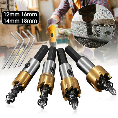 12/14/16/18mm HSS Steel Tipped Drill Bit Metal Wood Cutter Coated Hole Saw