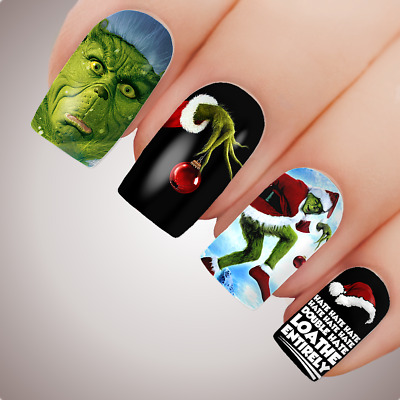 GRINCHY AF Christmas Full Cover Nail Decal Art Water Slider Grinch Xmas