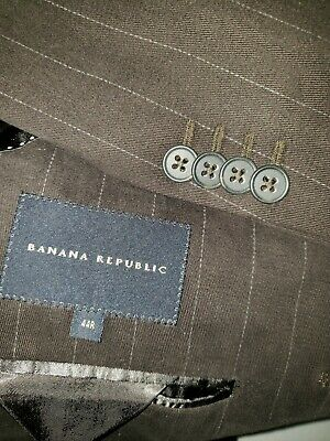 Banana Republic Mens 44R Brown Pinstripe Cotton Heavy Thick Blazer/Suit Jacket