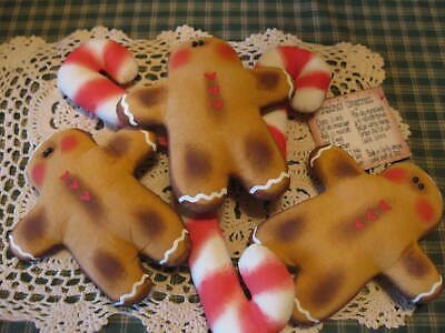 Primitive Christmas gingerbread candy canes ornies  bowl fillers dolls shelf sit