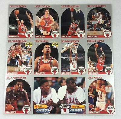 Michael Jordan Chicago Bulls 1990-91 Hoops Team Cards Uncut Sheet Pippen