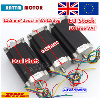 EU丨 3-PCS Nema 23 Stepper Motor 57x112mm 3A Dual Shaft for 3D Printer/CNC Router