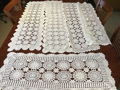 Large Crochet Cotton Table Runners X5 Lot B.