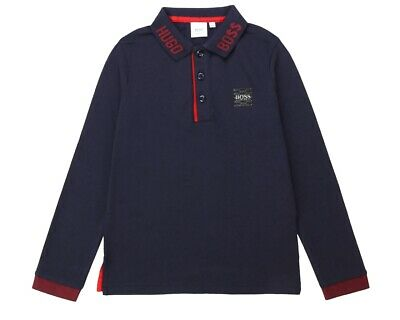 Sale Hugo Boss Junior J25E33 849 Long Sleeved Boys Polo Shirt Blue Top