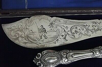 Rare  Antique Australian Colonial Silver Ornate Fish Knife & Fork Server / Boxed