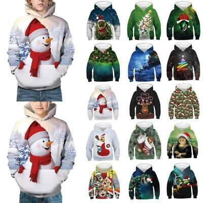 Kids Girls Boys Christmas Sweat Shirt Tops Hooded Jumpers Hoodies Age 4-14 Years