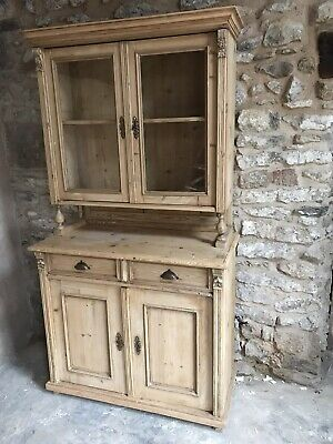 antique pine dresser with glazed top / cupboard / cabinet / bookcase