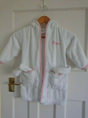 White Cotton Girls Towelling Hooded Robe age 2-3 name ''PIPPA'' pink check trim