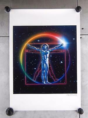 "Chris Moore Signed Vitruvian Space Man Scifi Science Fiction Art Print 23"" x 16"""