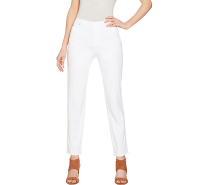 H by Halston Regular Studio Stretch Pull-On Ankle Pants Color WHITE Size Reg 6