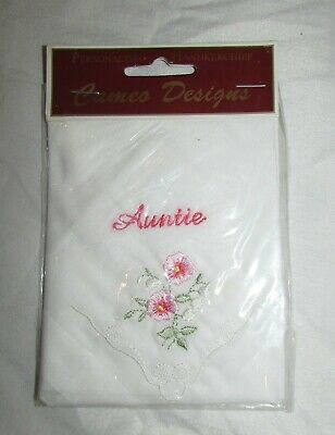 New Vintage Auntie Personalised Handkerchief By Cameo Design Cotton