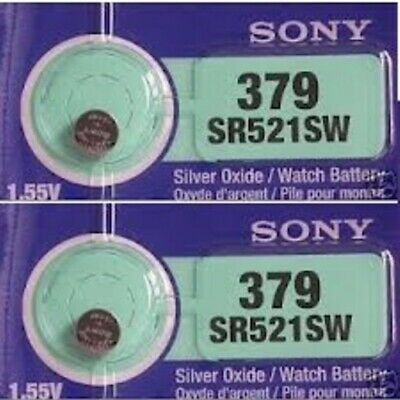 2 New SONY SR521SW Silver Oxide 1.55v Watch Batteries MADE in JAPAN Aussie Stock