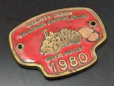 Vintage Enamel Plaque Co Down Traction Engine Club 1980