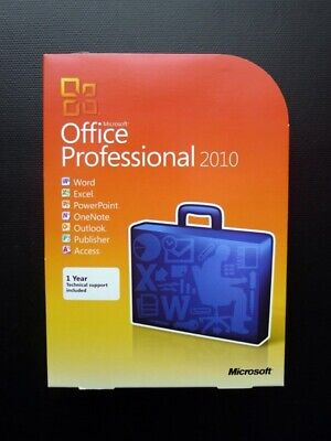 Microsoft Office 2010 Professional Word Excel Outlook Publisher Access Boxed DVD