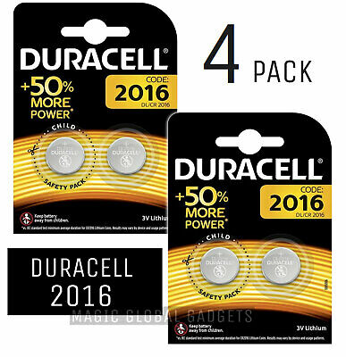 4x Duracell CR2016 3V Coin Cell Battery 2016, DL2016, BR2016, SB-T11 LONG EXPIRY