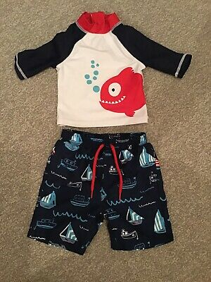MOTHERCARE Swimsuit / Outfit. UV Top &  Shorts Fish / Boat Swim Set 9-12 months