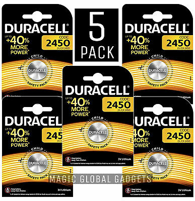 5 x Duracell CR2450 3V Lithium Coin Cell Battery 2450 DL2450 Longest Expiry
