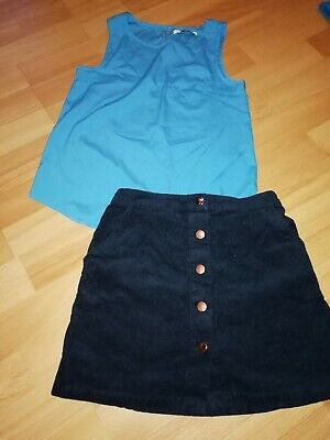 M&S Bundle Outfit Corduroy Navy Skirt Blue Vest Top 9 - 10 Years