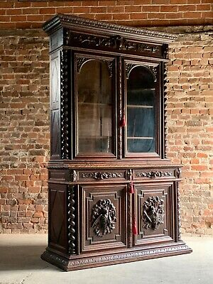 Napoleon III French Bookcase Heavily Carved Solid Oak 19th Century Circa 1850