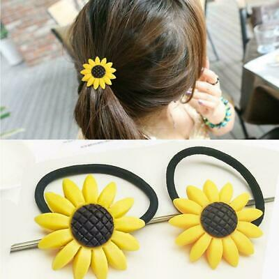 Lovely Sunflower Girls Hair Band Ties Rope Ring Elastic Holder Ponytail Hai S0Q1