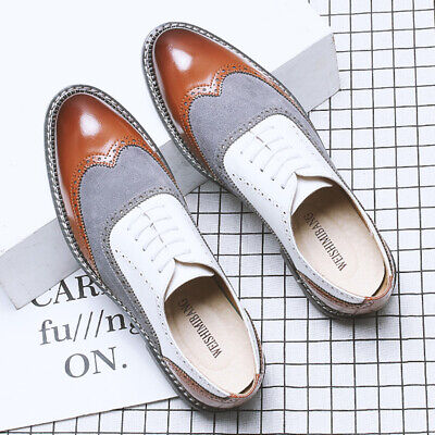 Mens Formal Business Dress Leather Shoes Oxfords Brogue Wing Tip Lace Up Loafers