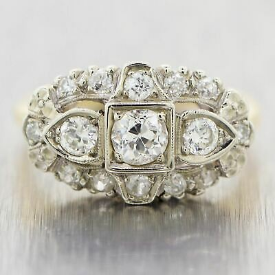 1930's Antique Art Deco 14k Yellow & White Gold 1ctw Diamond Band Ring