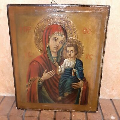 Antique Greek Icon Mother of God Painting On Wood.