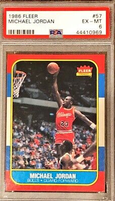 1986-1987 Fleer Michael Jordan Chicago Bulls #57 Basketball Card PSA 6 Rookie