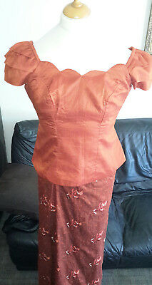 Ladies Beautiful African Inspired Outfit Lapa Skirt & Blouse Size UK 10/12
