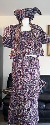 African Ladies  Outfit 3 Piece Top/ Skirt/Headpiece Size U.K. 18/20