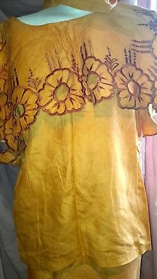 Ladies Beautiful African Outfit Lappa Skirt & Blouse 3 Pieces Size UK 18/20