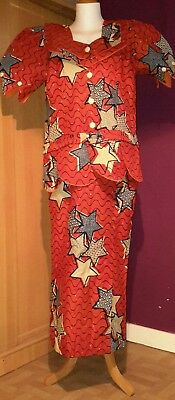 African Cotton Ankara  Print Fishtail Skirt/ Fitted Blouse  UK Size 16/18