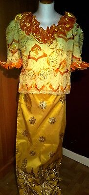 Ladies Beautiful African Inspired Outfit Lapa Skirt & Blouse Size UK 16/18