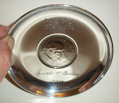 A Winston Churchill Hm Solid Silver Crown Dish Limited Edition 2232 C1975 Cased