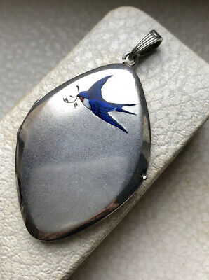 1910's BIG ANTIQUE VICTORIAN ALPACCA LOCKET PENDANT w/ENAMELLED SWALLOW